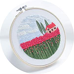 Monterey - Rose Field, Handmade Embroidery Starter Kit for Beginners (Includes Patterned Embroidery Cloth, Bamboo Hoop, Color Floss, Tools Kit)