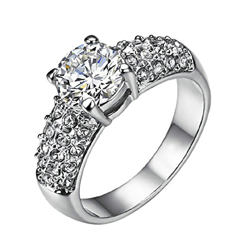 Classic 4 Prongs 1.5ct Clear Cubic Zirconia with Rhinestones Studded Wedding Ring (9)