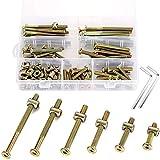 PGMJ Hardware Screws 60 Set(120pcs) M6 Barrel Bolt Nuts Kit Hex Socket M6 x 30mm/ 40mm/ 50mm/ 60mm/70mm/80mm Zinc Plated Crib Bolt Barrel Nut with 2pcs Matching Hex Wrench