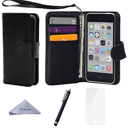 (iPhone 5c Case, Wisdompro Premium PU Leather 2-in-1 Protective [Flip Folio] Wallet Case with Multiple Credit Card Holder/Slots and Wrist Lanyard for Apple iPhone 5c (Black with Lanyard))