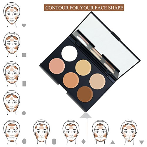 RUIMIO Contour Kit Cream Contour Palette 6 Colors with Makeup Brush Set by PIXNOR (Image #2)