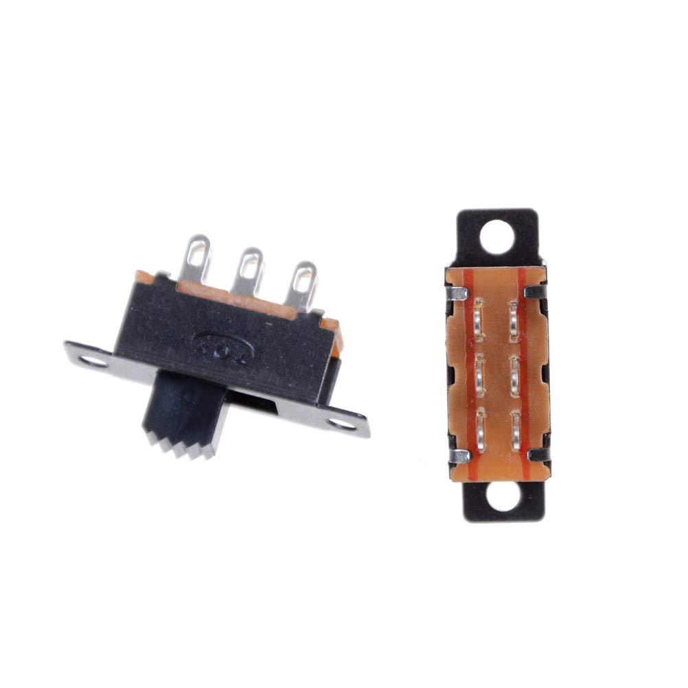 JPONLINE 10 Pcs 6 Pin 0.5A 50V DC top Quality2 Position DPDT 2P2T Panel Mount Vertical Slide Switch