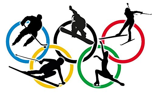 (Gifts Delight Laminated 34x24 inches Poster: Sochi 2014 Russia Olympiad Winter Olympics Competition Sports Ice Hockey Snwowboarder Freestyle Biathlon Departure Figure Skating 5 Rings Olympic Rings)