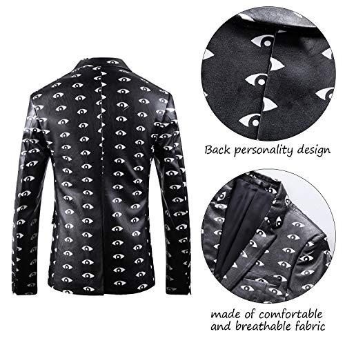 Fit Noir Blazer Slim Cuir Floral Hommes Bouton Costume Casual Veste Blanc Santimon HvBXqz
