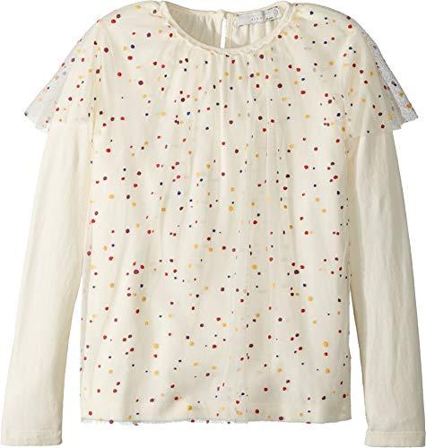 Stella McCartney Kids Baby Girl's Popcorn Ruffled Tulle Overlay Long Sleeve Top (Toddler/Little Kids/Big Kids) White 10