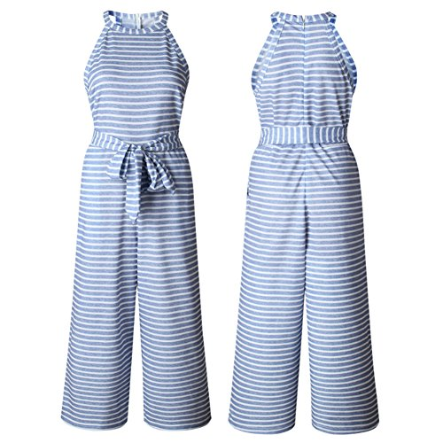 f1ccc40efee Yaso Women s Casual Striped Sleeveless Waist Belted Zipper Back Wide Leg  Loose Jumpsuit Romper with Pockets