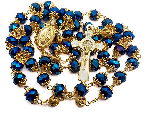 Nazareth Store St Benedict Rosary Necklace Gold Plated Deep Blue 10mm Crystals Beads Miraculous Virgen de Guadalupe Medal Catholic Cross