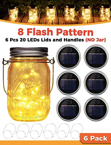 Solar Mason Jar Lid Lights 6 Pack (No Jar) Warm White with Pendant String Night Twinkle Kit Twinkle Fixtures Outdoor Waterproof | Outdoor Patio, Fairy, Wedding Lights for Parties, and Gardens