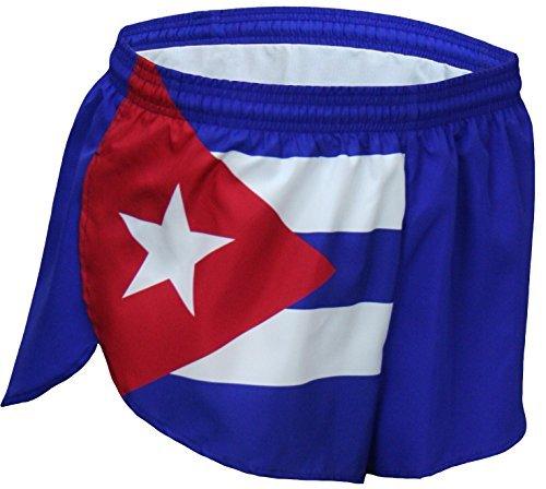 B O A Boa Mens 1  Elite Split Leg Print Flag Running Short 1000Cp   Cuba  Medium
