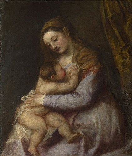 Oil Painting 'Titian The Virgin Suckling The Infant Christ ' Printing On High Quality Polyster Canvas , 10 X 12 Inch / 25 X 30 Cm ,the Best Kids Room -