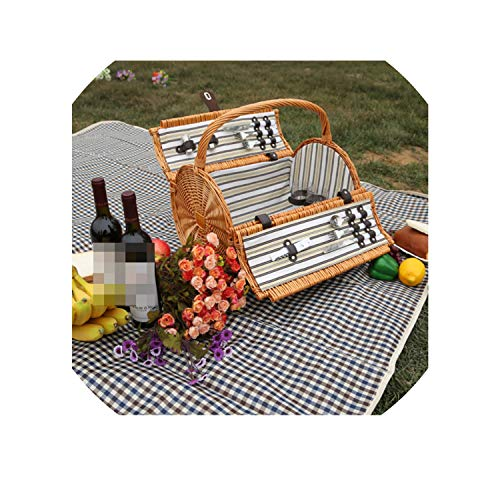 Vintage Wicker Picnic Basket Set for 2 Persons