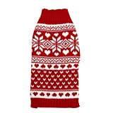 Homedeco Pet Cat Dog Sweater Knited Pull Over Snowflake Christmas Clothes Red