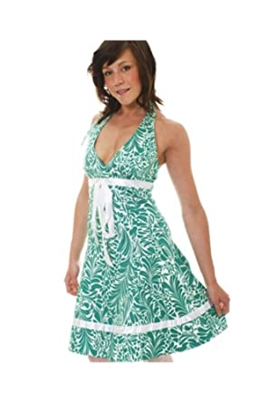 Womens Mid Length White Green Halterneck Party Prom Dress Peplum Puffball Floral Leaf Design Ladies Size UK 10: Amazon.co.uk: Clothing