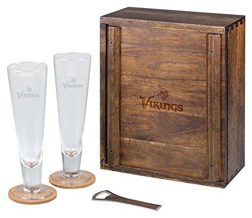(PICNIC TIME NFL Minnesota Vikings Acacia Wood Pilsner Beer Glass Gift Set for Two)