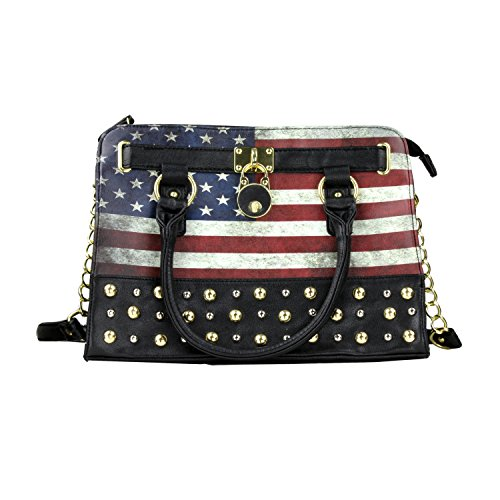 Distressed American Flag Structured Purse Long Strap, Double Handles, Lock Charm