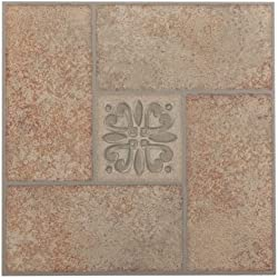 Achim Home Furnishings FTVMA42120 Nexus 12-Inch Vinyl Tile, Marble Beige Terracotta Motif Center, 20-Pack