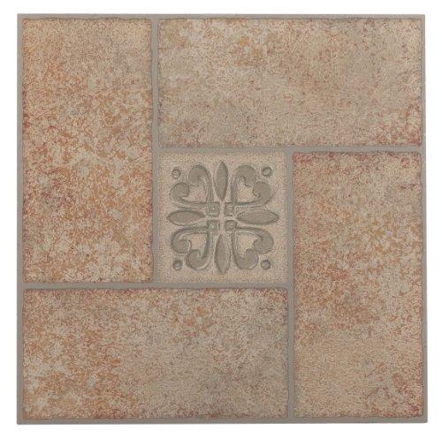 Achim Home Furnishings FTVMA42120 Nexus 12-Inch Vinyl Tile, Marble Beige Terracotta Motif Center, 20-Pack (12x12 Beige Tile Flooring)