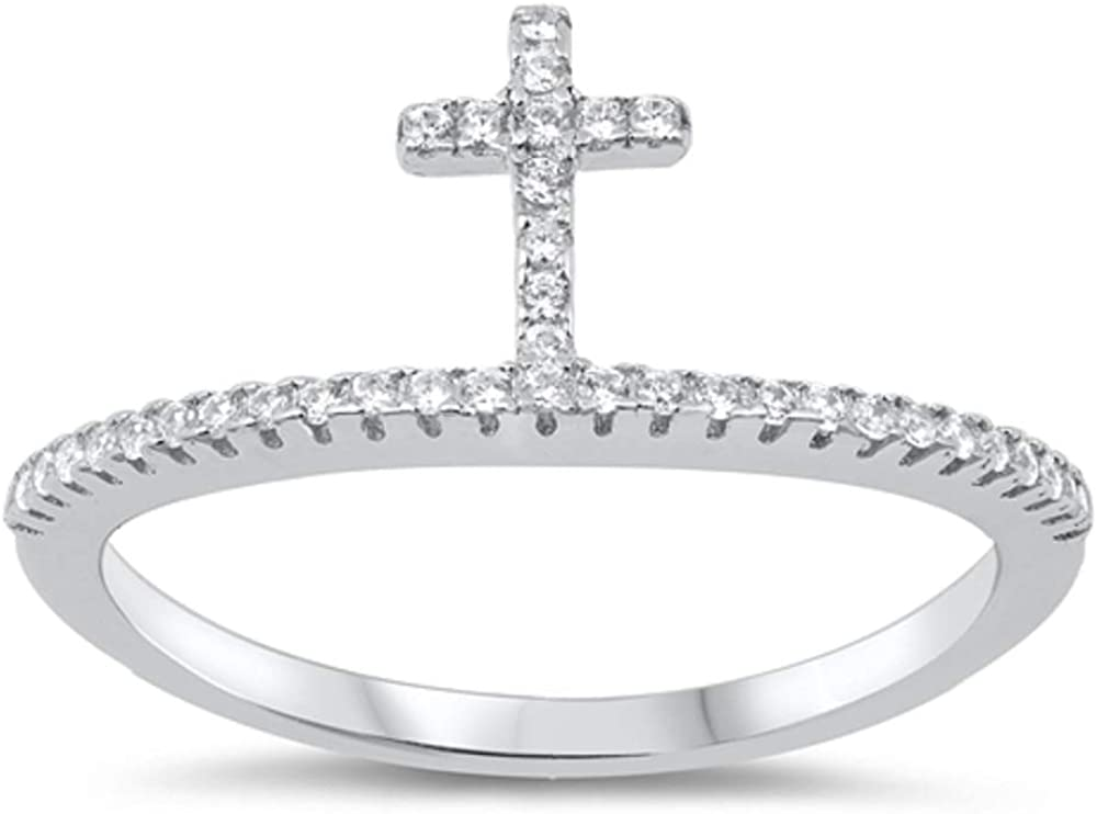 CloseoutWarehouse Clear Cubic Zirconia Band Crown Ring Sterling Silver