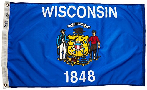 Annin Flagmakers Model 145950 Wisconsin State Flag Nylon SolarGuard NYL-Glo, 2x3 ft, 100% Made in USA to Official Design Specifications