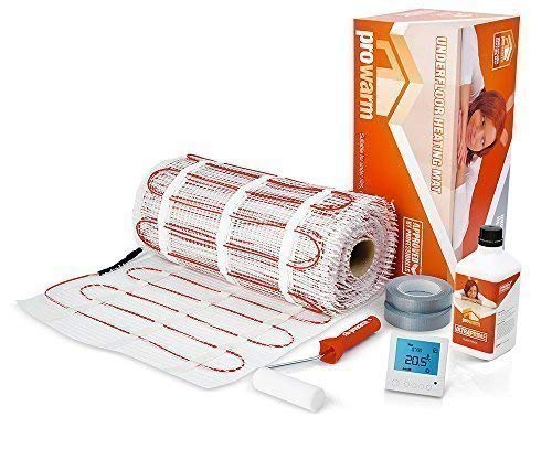 Electric underfloor heating mat kit for tiles 150 W/m² KIT Complete ALL Sizes & Thermostats Available (2.5m2, Thermostat Choice - ProDigital White) ProWarm