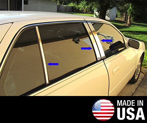 Made in USA! Fit 00-05 Cadillac Deville 6 PC Stainless Steel Chrome Pillar Post Trim
