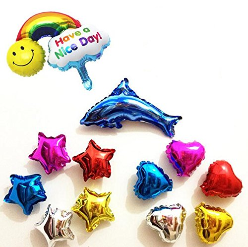 Ximkee Mini 5 Inch Assorted Color Star Heart and 10 Inch Dolphin Rainblow Foil Balloons(12 PK) for Christmas Party Wedding Birthday Decoration
