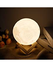 Moon lamp - Lampwin 5.9 Inch USB Rechargeable Dimmable LED 3D Full Moon Light Lantern, Touch Switch Warm/Cool White Crescent Enchanting Moon Night Light for Baby Nursery Kids Bedroom Home Decor Gift