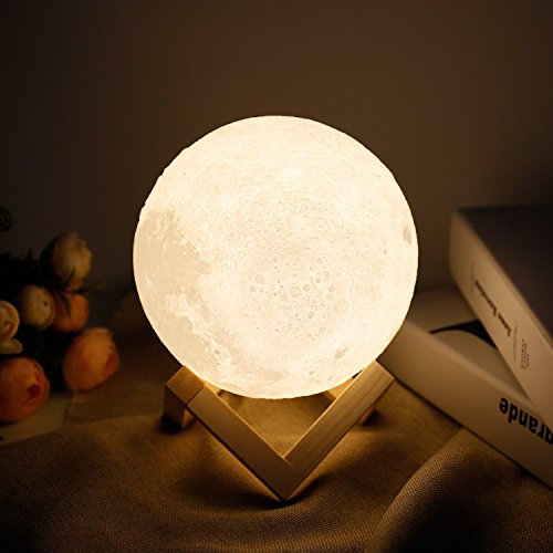 Moon lamp - Lampwin 7.1 Inch USB Rechargeable Dimmable LED 3D Full Moon Light Lantern, Touch Switch Warm / Cool White Crescent Enchanting Moon Night Light for Baby Nursery Kids Bedroom Home Decor Gift