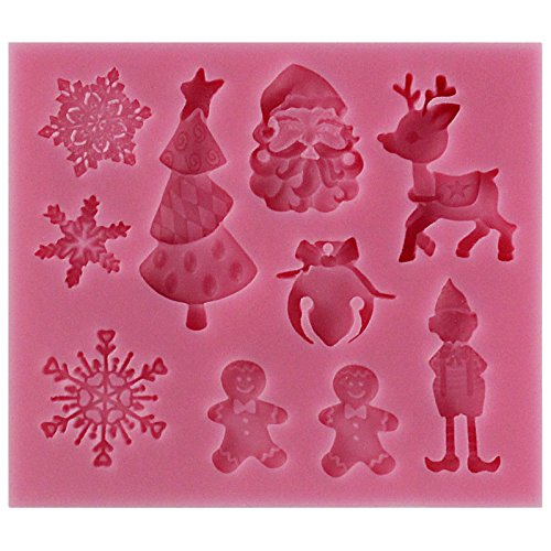 Funshowcase Santas Essentials Candy Silicone Mold for Cupcake, Cake Decoration, Sugar Paste, Fondant, Butter, Resin, Polymer Clay Crafting Projects