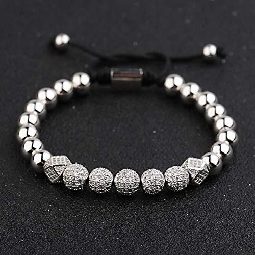 Werrox Luxury Micro Pave CZ Ball Crown Braided Copper Bead Mens Bracelets Jewelry   Model BRCLT - 4164  