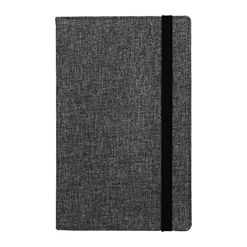 Samsill Suit Style Fashion Writing Notebook, Hardbound Cover, Classic Size, 5.25 Inch x 8.25 Inch, 120 Ruled Sheets (240 Pages), Gray with Black Elastic Band (Diary, Journal) (Hardcover College Ruled Journal)