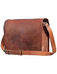 PhoenixCraft Leather Full Flap Messenger Handmade Bag Laptop Bag Satchel Bag Padded Messenger Bag School Bag 15X11X4 Inches Brown ...