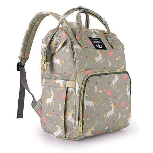Diaper Bag Backpack for Mom/Dad,Wide Open Multi-Function Waterproof Travel Backpack Nappy Bags for Baby Care, Large Capacity, Stylish and Durable,Lightweight,Unicorn Diaper Bag for Boys/Girls,Gray