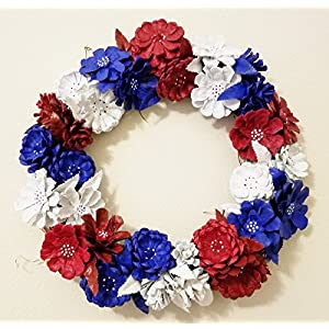 """14"""" Wreath Pine Cone Flowers Red White and Blue Indoor or Outdoor Door Wall 40"""