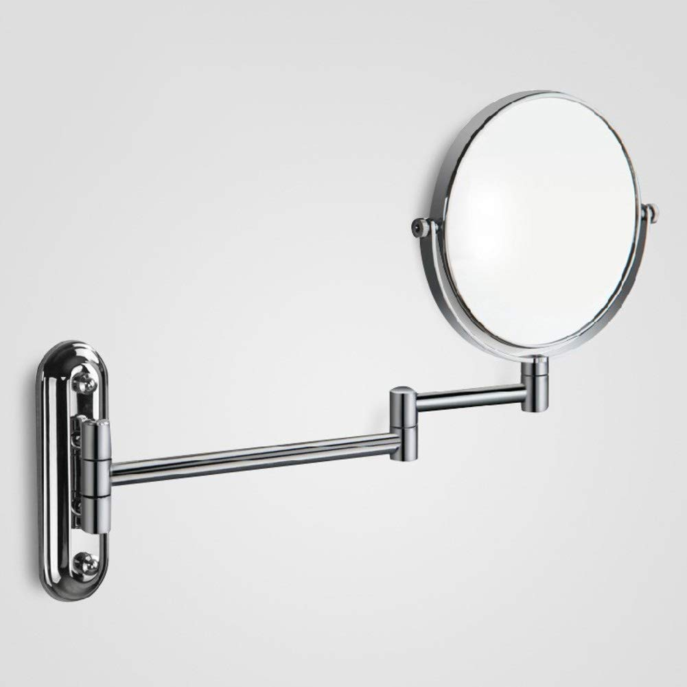 KELE Stainless Steel Adjustable arm Bathroom Mirror Makeup Vanity Mirror Beauty Mirror Double Sided Mirror Extendable Detachable Round Wall Hanging mirror-20cm-B