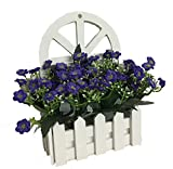 Htmeing Artificial Flowers Silk in Hanging Picket Fence Pot Pack - Mini Potted Plant for Wall Decoration (Aglaia odorata)