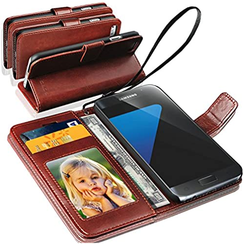 GBOS Brown Luxury Antique Rich Leather Stand Wallet Flip Case Cover For Samsung Galaxy S8 With Screen Protector Sales