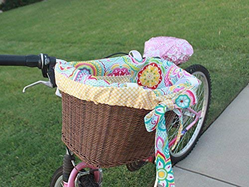Yellow Floral and Polka dot Bike Basket Liner Tote