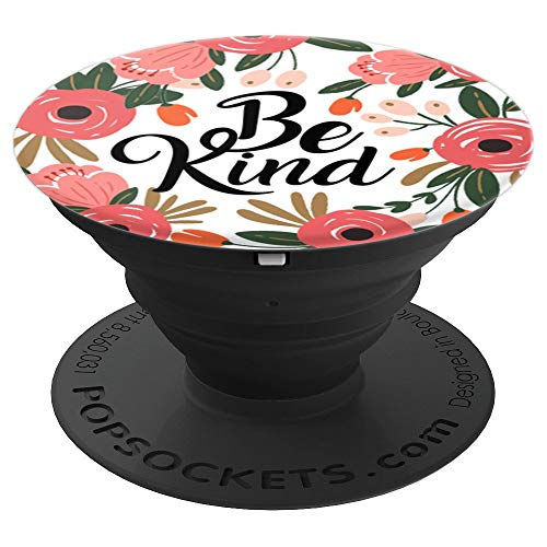 Be Kind & Coral Pink Red Flowers White on Black Base PZZZ017 - PopSockets Grip and Stand for Phones and - Cell Charm Phone Flower