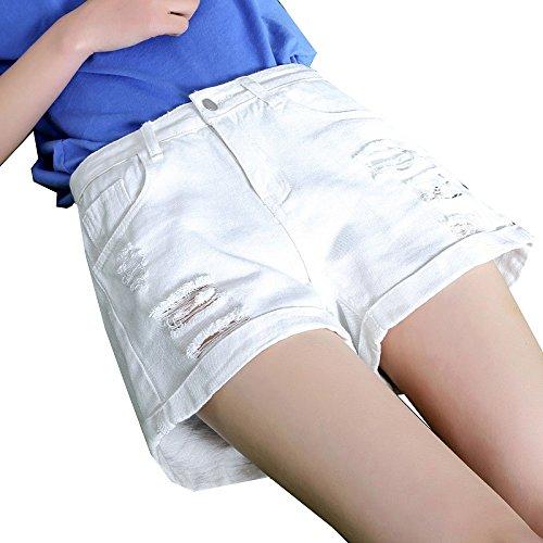 Corti Donna Da A Vita Jeans Pantaloni Alta Spiaggia Yongbe Di White Pantaloncini qzgxR