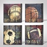 Green Frog Basketball Soccer Football Sports Themed Canvas Wall Art for Boys Room Baby Nursery Wall Decor Basketball Boys Gift