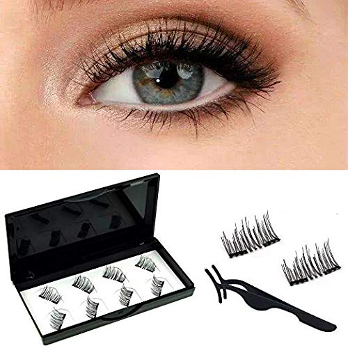 (TPhui No Glue Dual Magnetic Eyelashes Lightweight and Easy to Wear Best 3D Reusable Eyelashes with Tweezer (2Pair/8Pcs))