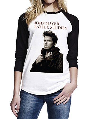 Topfusion Women's John Mayer Battle Studies 3/4 Sleeve Baseball T-Shirt Size M