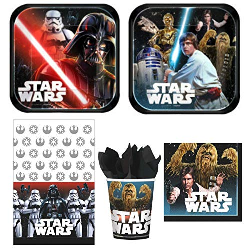 ParteePak Star Wars Classic Birthday Party Bundle 50 Pieces | Disposable Tableware Supplies Pack for 16 Guests | Includes Plates, Napkins, Cups, Table Cover and Party Planning eBook (Basic -