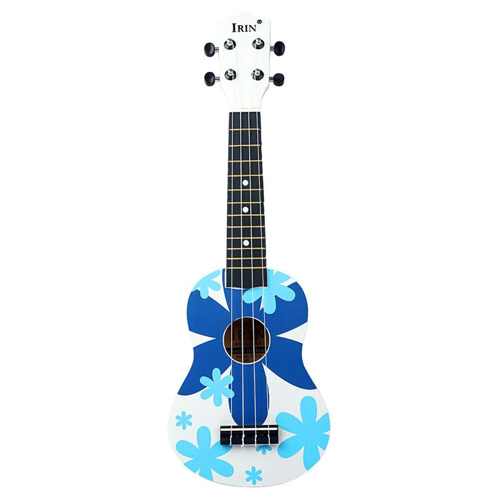 Guitarra 21 Inch Soprano Wooden Basswood Fingerboard Hawaii Guitarra Acústica-Blue_21_Inches
