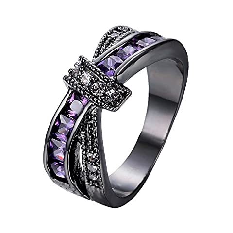 Bamos Jewelry Amethyst Purple Diamonds New Year's Best Friend Engagement Gift X Shape Cross Black Gold Womens Ring Size (Promise Ring Size 5 White Gold)