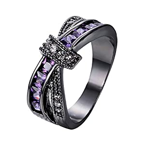 bamos jewelry womens purple zc stone promise gift rings lab for engagement wedding criss cross black gold plated ring for her size 5 10 - Purple Wedding Rings