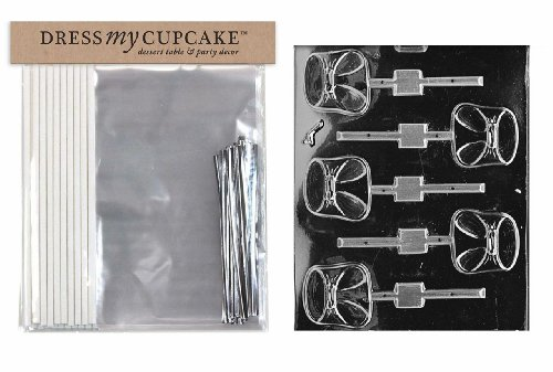 Dress My Cupcake DMCKITB026 Chocolate Candy Lollipop Packaging Kit with Mold, Baby Shower, Diaper Lollipop (Lollipop Diaper)
