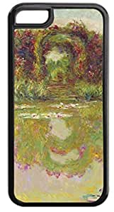 MEIMEI Claude Monet-Rose Arch-Giverny- Case for the APPLE ipod touch 5 ONLY-Hard Black Plastic Outer Case with Tough Black Rubber LiningLINMM58281