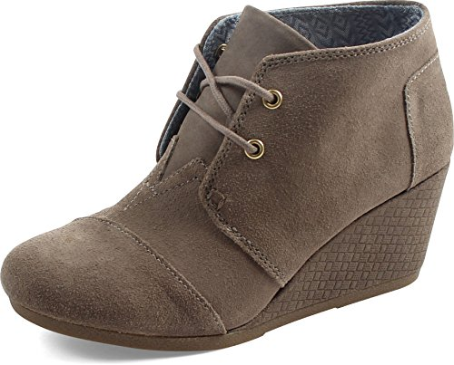Toms Women's Desert Wedge Casual Shoe (7.5 B(M) US, Desert Taupe Distressed Suede with Embossed Wedge) by TOMS